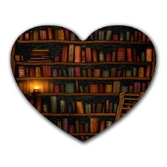 Books Library Heart Mousepads