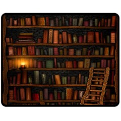 Books Library Fleece Blanket (medium)