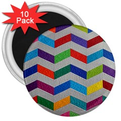 Charming Chevrons Quilt 3  Magnets (10 Pack)