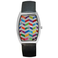 Charming Chevrons Quilt Barrel Style Metal Watch