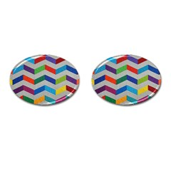 Charming Chevrons Quilt Cufflinks (oval) by BangZart