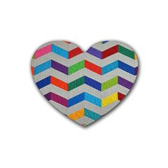 Charming Chevrons Quilt Rubber Coaster (heart)  by BangZart