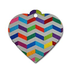 Charming Chevrons Quilt Dog Tag Heart (one Side) by BangZart