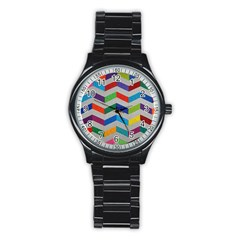 Charming Chevrons Quilt Stainless Steel Round Watch