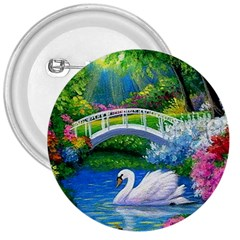 Swan Bird Spring Flowers Trees Lake Pond Landscape Original Aceo Painting Art 3  Buttons