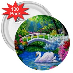 Swan Bird Spring Flowers Trees Lake Pond Landscape Original Aceo Painting Art 3  Buttons (100 Pack)