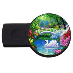 Swan Bird Spring Flowers Trees Lake Pond Landscape Original Aceo Painting Art Usb Flash Drive Round (2 Gb)