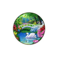 Swan Bird Spring Flowers Trees Lake Pond Landscape Original Aceo Painting Art Hat Clip Ball Marker (10 Pack)