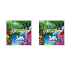 Swan Bird Spring Flowers Trees Lake Pond Landscape Original Aceo Painting Art Cufflinks (square) by BangZart