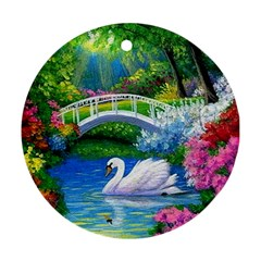 Swan Bird Spring Flowers Trees Lake Pond Landscape Original Aceo Painting Art Round Ornament (two Sides)