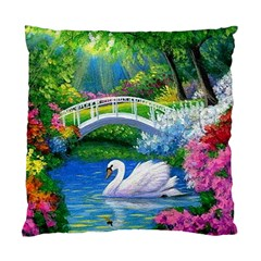 Swan Bird Spring Flowers Trees Lake Pond Landscape Original Aceo Painting Art Standard Cushion Case (one Side)