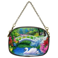 Swan Bird Spring Flowers Trees Lake Pond Landscape Original Aceo Painting Art Chain Purses (two Sides)