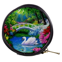 Swan Bird Spring Flowers Trees Lake Pond Landscape Original Aceo Painting Art Mini Makeup Bags