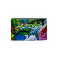 Swan Bird Spring Flowers Trees Lake Pond Landscape Original Aceo Painting Art Cosmetic Bag (small)