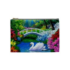 Swan Bird Spring Flowers Trees Lake Pond Landscape Original Aceo Painting Art Cosmetic Bag (medium)