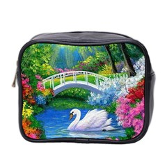 Swan Bird Spring Flowers Trees Lake Pond Landscape Original Aceo Painting Art Mini Toiletries Bag 2 Side