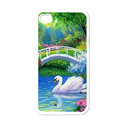 Swan Bird Spring Flowers Trees Lake Pond Landscape Original Aceo Painting Art Apple Iphone 4 Case (white)