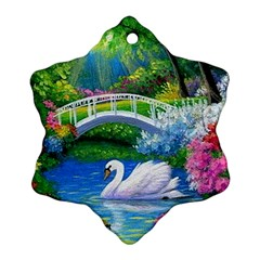 Swan Bird Spring Flowers Trees Lake Pond Landscape Original Aceo Painting Art Snowflake Ornament (two Sides)