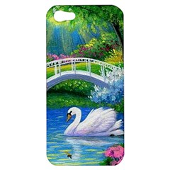 Swan Bird Spring Flowers Trees Lake Pond Landscape Original Aceo Painting Art Apple Iphone 5 Hardshell Case