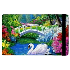 Swan Bird Spring Flowers Trees Lake Pond Landscape Original Aceo Painting Art Apple Ipad 2 Flip Case
