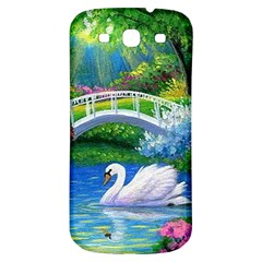 Swan Bird Spring Flowers Trees Lake Pond Landscape Original Aceo Painting Art Samsung Galaxy S3 S Iii Classic Hardshell Back Case