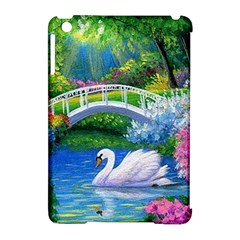 Swan Bird Spring Flowers Trees Lake Pond Landscape Original Aceo Painting Art Apple Ipad Mini Hardshell Case (compatible With Smart Cover) by BangZart