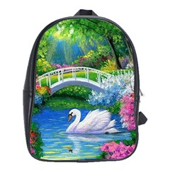 Swan Bird Spring Flowers Trees Lake Pond Landscape Original Aceo Painting Art School Bags (xl)