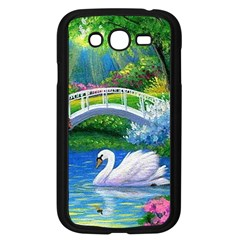 Swan Bird Spring Flowers Trees Lake Pond Landscape Original Aceo Painting Art Samsung Galaxy Grand Duos I9082 Case (black)