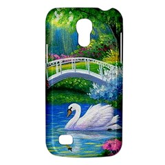 Swan Bird Spring Flowers Trees Lake Pond Landscape Original Aceo Painting Art Galaxy S4 Mini