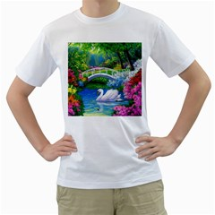 Swan Bird Spring Flowers Trees Lake Pond Landscape Original Aceo Painting Art Men s T Shirt (white)