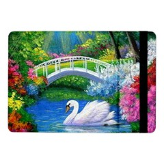Swan Bird Spring Flowers Trees Lake Pond Landscape Original Aceo Painting Art Samsung Galaxy Tab Pro 10 1  Flip Case