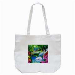 Swan Bird Spring Flowers Trees Lake Pond Landscape Original Aceo Painting Art Tote Bag (white)