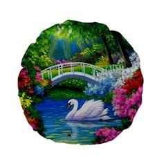 Swan Bird Spring Flowers Trees Lake Pond Landscape Original Aceo Painting Art Standard 15  Premium Flano Round Cushions by BangZart