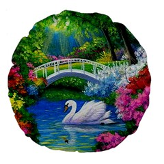 Swan Bird Spring Flowers Trees Lake Pond Landscape Original Aceo Painting Art Large 18  Premium Flano Round Cushions by BangZart