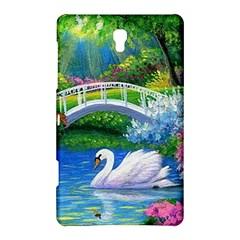 Swan Bird Spring Flowers Trees Lake Pond Landscape Original Aceo Painting Art Samsung Galaxy Tab S (8 4 ) Hardshell Case