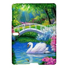 Swan Bird Spring Flowers Trees Lake Pond Landscape Original Aceo Painting Art Samsung Galaxy Tab S (10 5 ) Hardshell Case