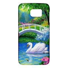Swan Bird Spring Flowers Trees Lake Pond Landscape Original Aceo Painting Art Galaxy S6