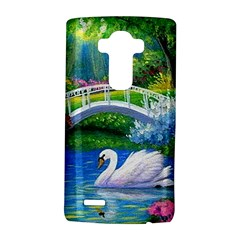 Swan Bird Spring Flowers Trees Lake Pond Landscape Original Aceo Painting Art Lg G4 Hardshell Case