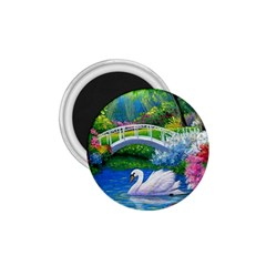 Swan Bird Spring Flowers Trees Lake Pond Landscape Original Aceo Painting Art 1 75  Magnets
