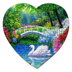 Swan Bird Spring Flowers Trees Lake Pond Landscape Original Aceo Painting Art Jigsaw Puzzle (heart) by BangZart