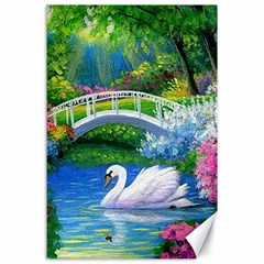 Swan Bird Spring Flowers Trees Lake Pond Landscape Original Aceo Painting Art Canvas 24  X 36
