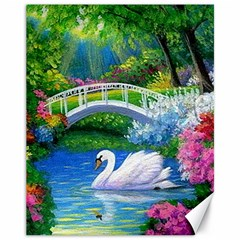 Swan Bird Spring Flowers Trees Lake Pond Landscape Original Aceo Painting Art Canvas 11  X 14   by BangZart