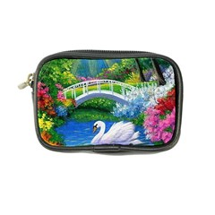 Swan Bird Spring Flowers Trees Lake Pond Landscape Original Aceo Painting Art Coin Purse by BangZart
