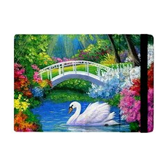 Swan Bird Spring Flowers Trees Lake Pond Landscape Original Aceo Painting Art Apple Ipad Mini Flip Case by BangZart