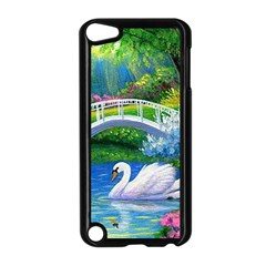 Swan Bird Spring Flowers Trees Lake Pond Landscape Original Aceo Painting Art Apple Ipod Touch 5 Case (black) by BangZart