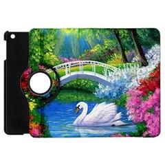 Swan Bird Spring Flowers Trees Lake Pond Landscape Original Aceo Painting Art Apple Ipad Mini Flip 360 Case