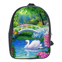 Swan Bird Spring Flowers Trees Lake Pond Landscape Original Aceo Painting Art School Bags (xl)  by BangZart