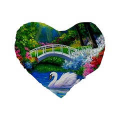 Swan Bird Spring Flowers Trees Lake Pond Landscape Original Aceo Painting Art Standard 16  Premium Heart Shape Cushions