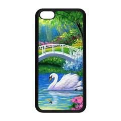 Swan Bird Spring Flowers Trees Lake Pond Landscape Original Aceo Painting Art Apple Iphone 5c Seamless Case (black)
