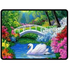 Swan Bird Spring Flowers Trees Lake Pond Landscape Original Aceo Painting Art Double Sided Fleece Blanket (large)  by BangZart